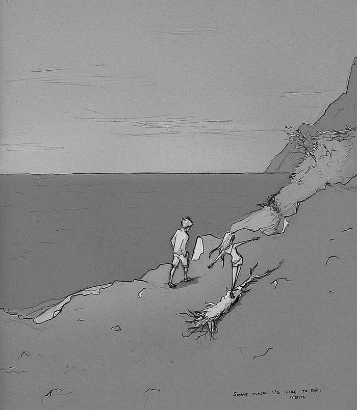 A sketch of a man and woman talking a long walk down the coast together