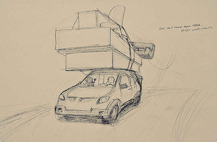 A drawing of a car loaded with furniture picked out together from IKEA