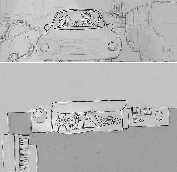 A drawing showing a couple fighting together in the car and then resolving the issue together
