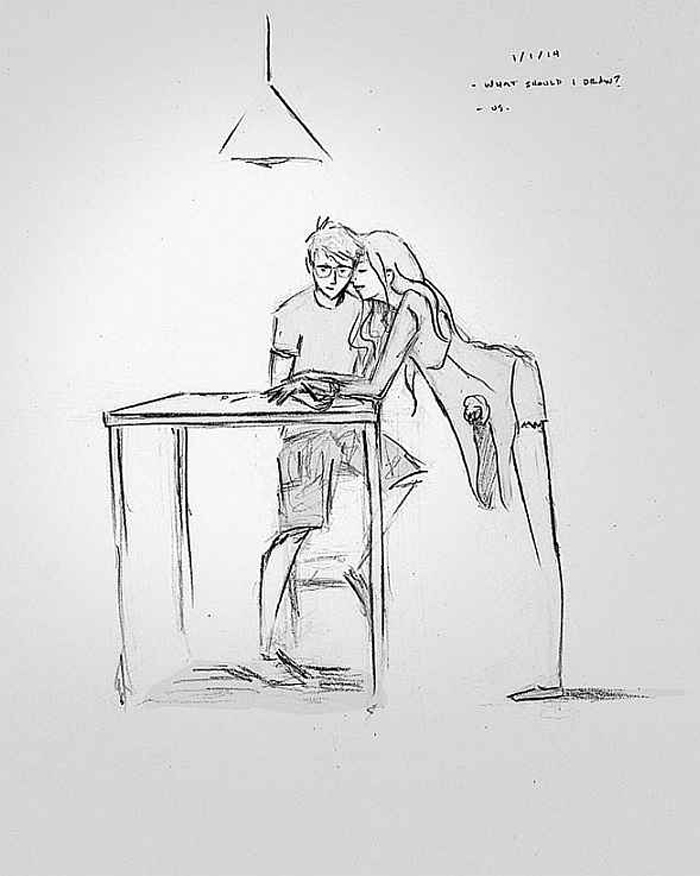 A drawing of a couple working together to formulate their future